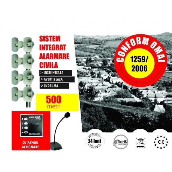 Alarmare Civila- 60 dB Raza circa 500 m