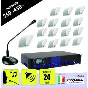 Sistem sonorizare ambientala si anunturi pentru spatii intre 250 si 450 mp, cu incinte audio cu montaj aplicat