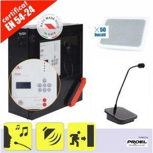 Sistem sonorizare si EVAC in conformitate cu EN 54 pentru 1 zona, max. 300 W, cu incinte audio de perete