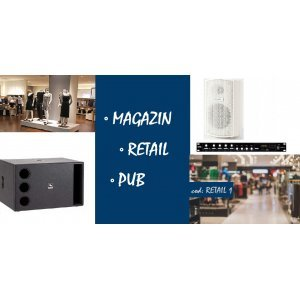 Sistem de sonorizare pentru retail / spatiu commercial / pub, cu boxe de perete si subwoofer