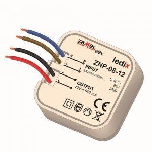 Sursa alimentare LED-uri, 12 V CC/ 8 W, incastrabila, ZNP-08-12