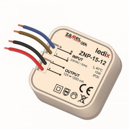 Sursa alimentare LED-uri, 12 V CC/ 15 W, incastrabila, ZNP-15-12
