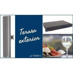 Sistem de sonorizare ambientala pentru terase, cu coloane audio si interfata USB/RCA