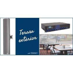 Sistem de sonorizare ambientala pentru terase, cu coloane audio si amplificator combo