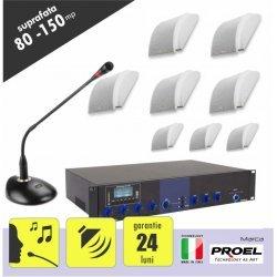 Sistem sonorizare ambientala si anunturi pentru spatii 80 si 150  mp,  cu incinte audio montaj aplicat