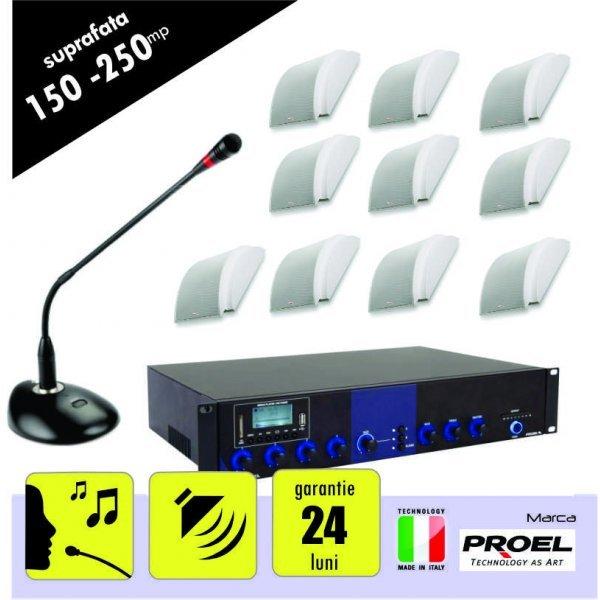 Sistem sonorizare ambientala si anunturi pentru spatii intre 150 si 250 mp,  cu incinte audio montaj aplicat