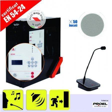 Sistem sonorizare si EVAC in conformitate cu EN 54 pentru 1 zona, max. 300 W, cu incinte audio de tavan fals