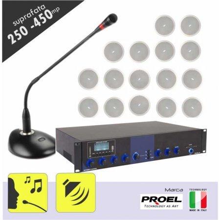 Sistem sonorizare ambientala si anunturi pentru spatii intre 250 si 450 mp,  cu incinte audio tavan fals