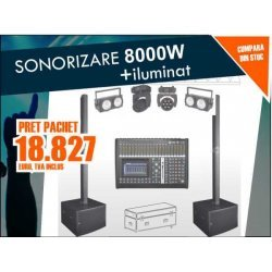 Instalatie sonorizare Line Array mobil 8000W (Pachet club, camin cultural)