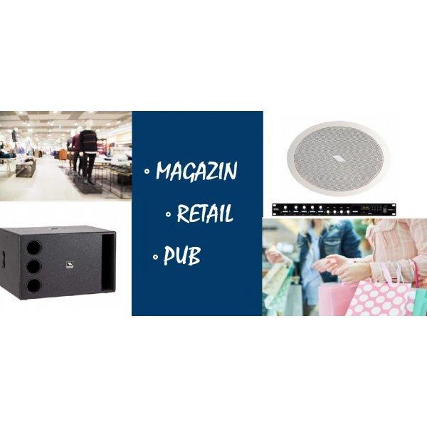 Sistem de sonorizare pentru retail / spatiu comercial / pub, cu boxe de tavan si subwoofer