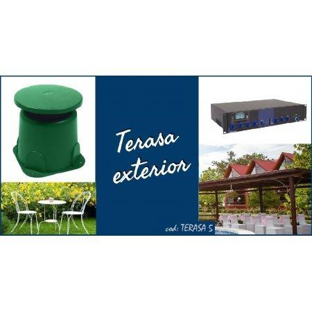 Sistem de sonorizare ambientala pentru terase, cu difuzoare de gradina si amplificator combo