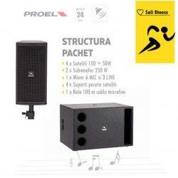 Sistem audio sala fitness cu subwoofer si boxe sateliti (pachet)