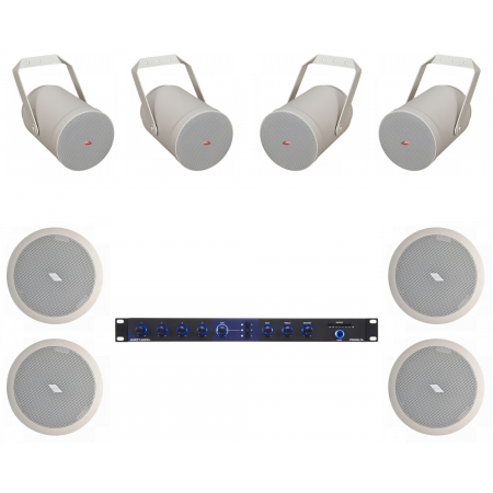 Sistem de sonorizare ambientala pentru terase, cu proiectoare de sunet si interfata USB/RCA