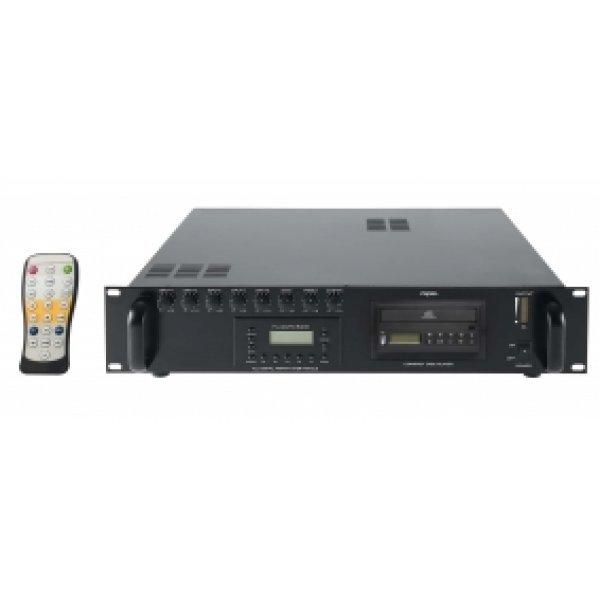 amplificator cu player, Proel ACDT180,   mixer amplificator cu tuner FM, amplificatoare combo, mixer audio cu amplificare, Proel ACDT180, amplificatoare audio 100V, mixere profesionale, mixer amplificator cu player