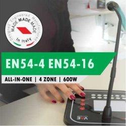 Sistem EVAC, certificat EN 54-16 / EN 54-4, 4 zone, max. 600 W, AE604, Proel