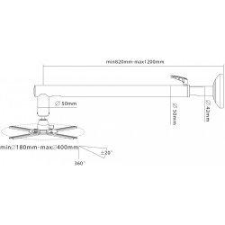 Suport videoproiector, de perete, heavy duty, 820 - 1200 mm, max. 26 Kg , PRPH30W, Proel