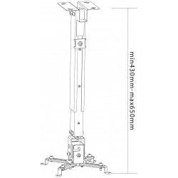 Suport videoproiector, de tavan, heavy duty, 430 - 650 mm, max. 20 Kg, PRPH50L, Proel