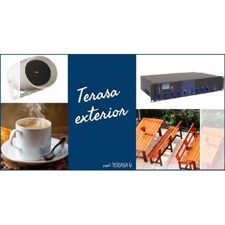 Sistem de sonorizare ambientala pentru terase, cu proiectoare de sunet  si amplificator combo