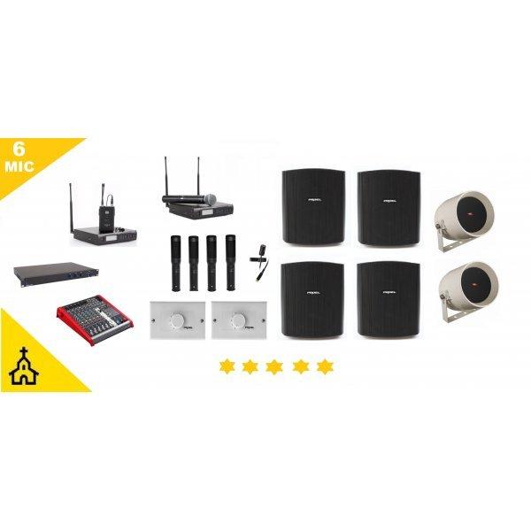 Sistem sonorizare biserici 6 microfoane