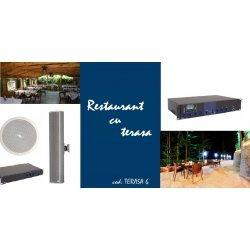 Sistem de sonorizare ambientala pentru restaurant / pub cu terasa, cu boxe de tavan si coloane audio